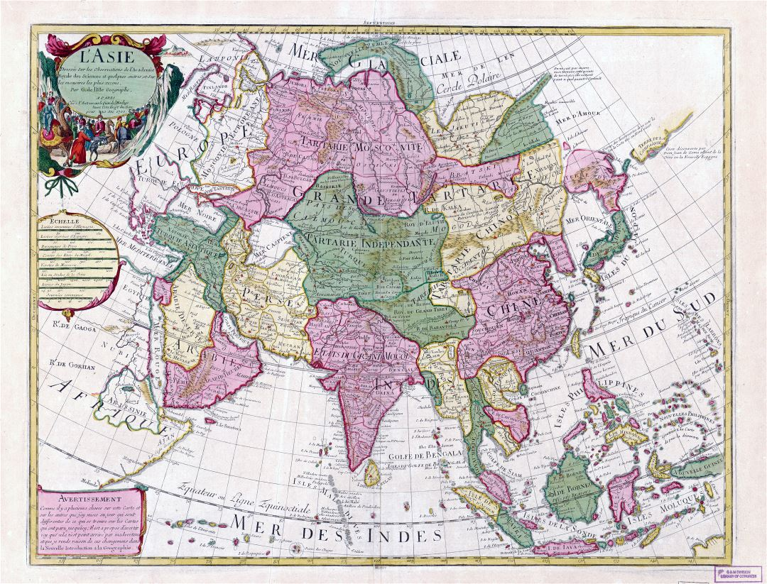 Large scale old antique political map of Asia - 1700