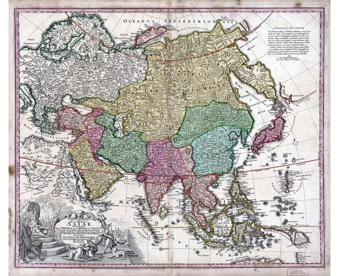 Large scale old antique political map of Asia - 1743