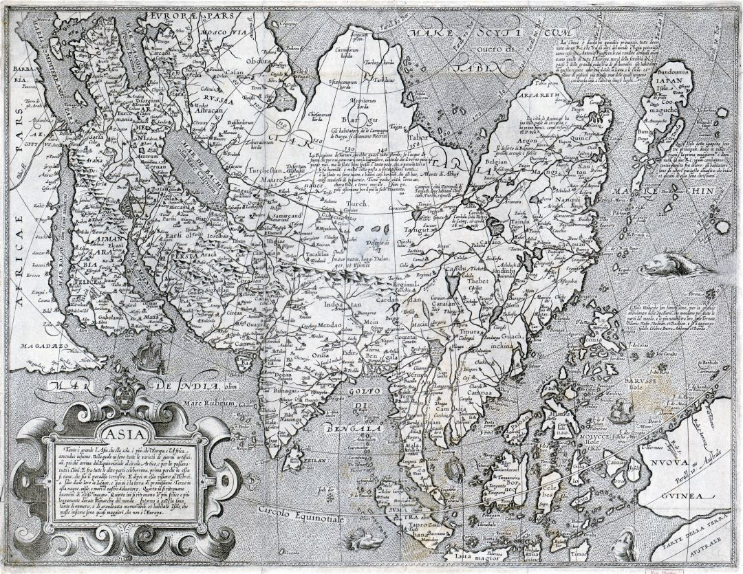 Large scale old map of Asia - 16xx