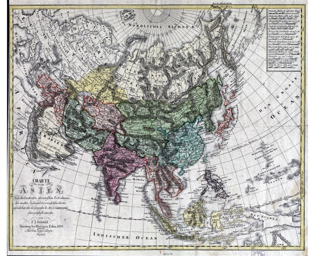 Large scale old map of Asia - 1805