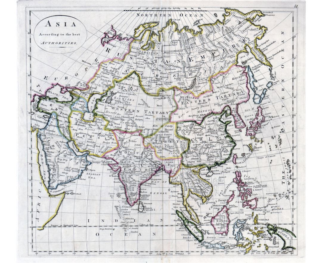 Large scale old map of Asia - 1814