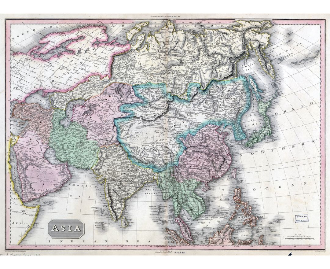 Large scale old map of Asia - 1818