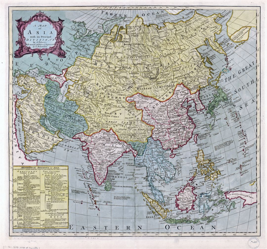 Large scale old map of Asia with its principal divisions - 17xx