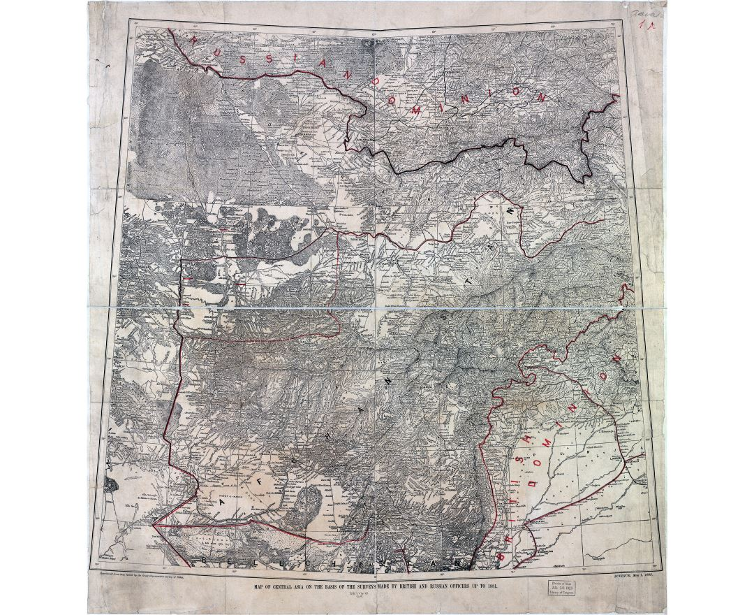 Large scale old map of Central Asia on the basis of the surveys made by British and Russian officers to 1881 - 1885