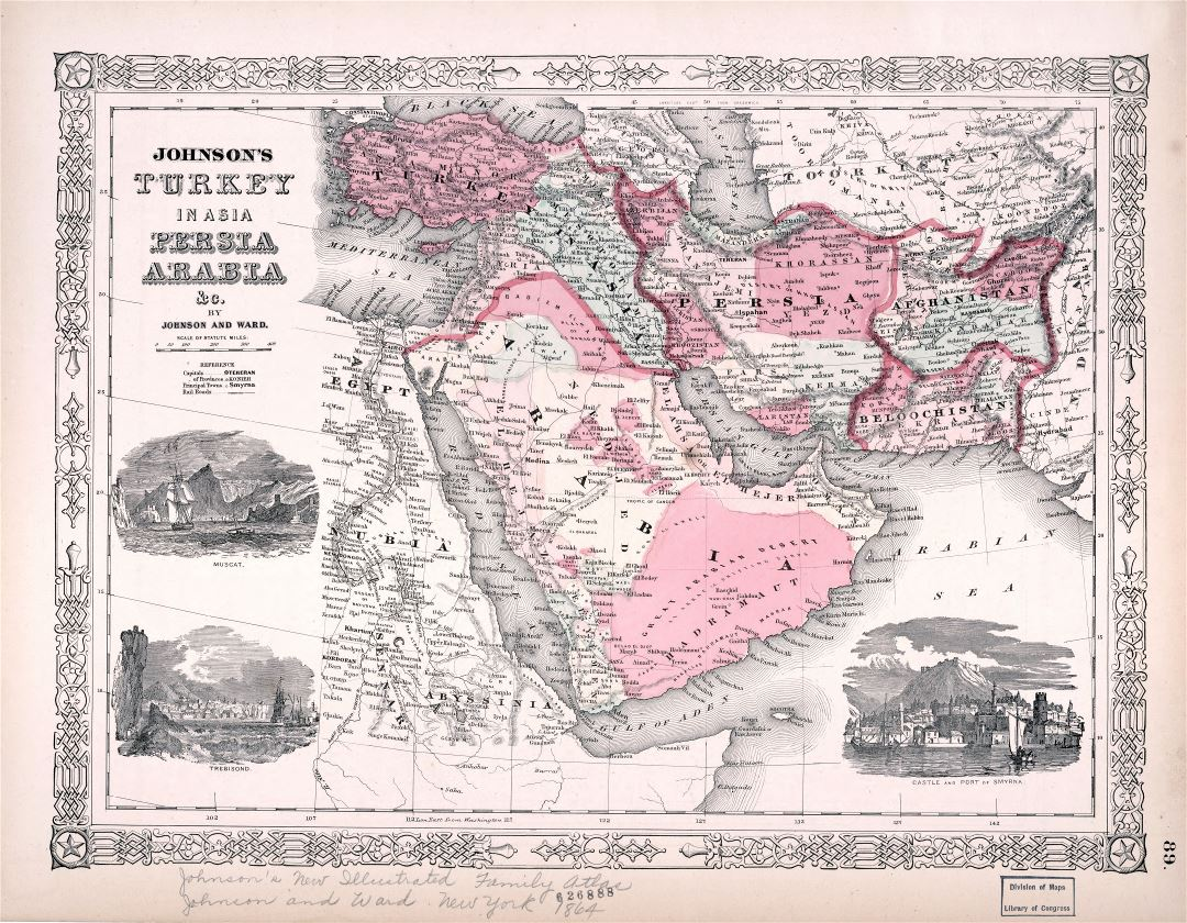 Large scale old map of Persia, Arabia - 1864