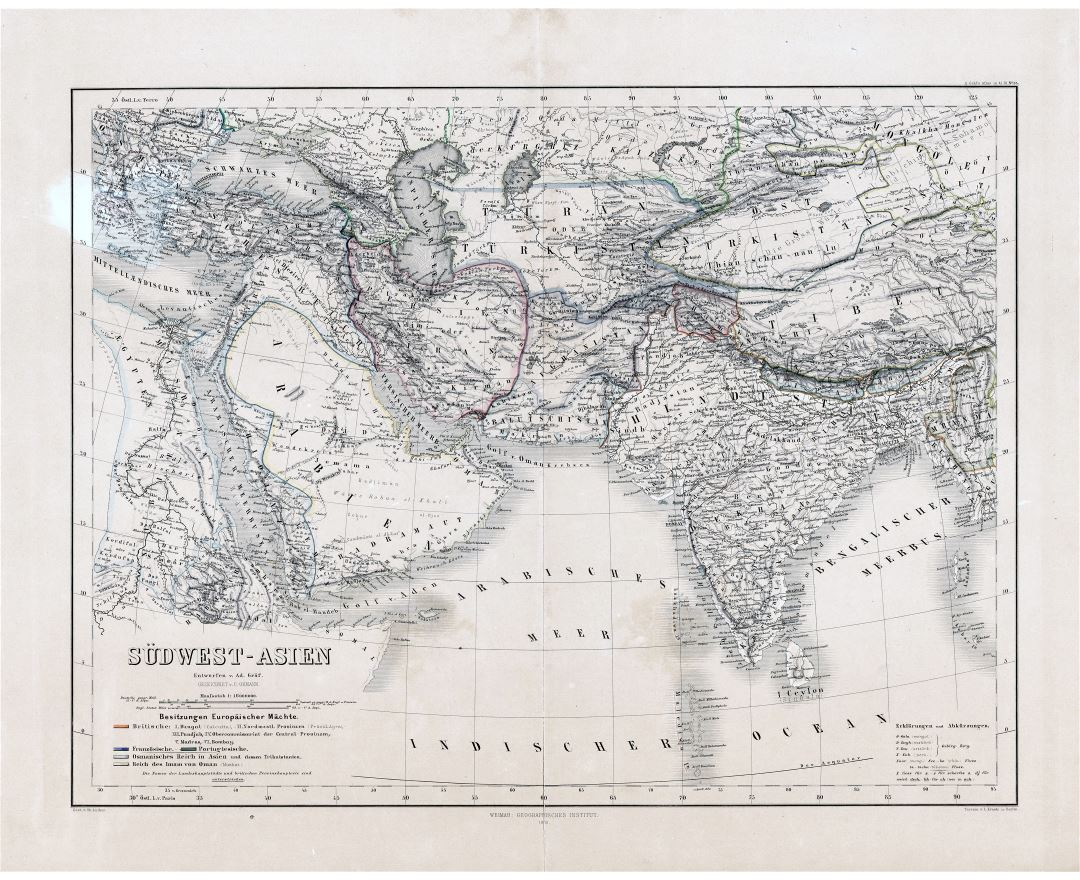 Large scale old map of Southwest Asia - 1866