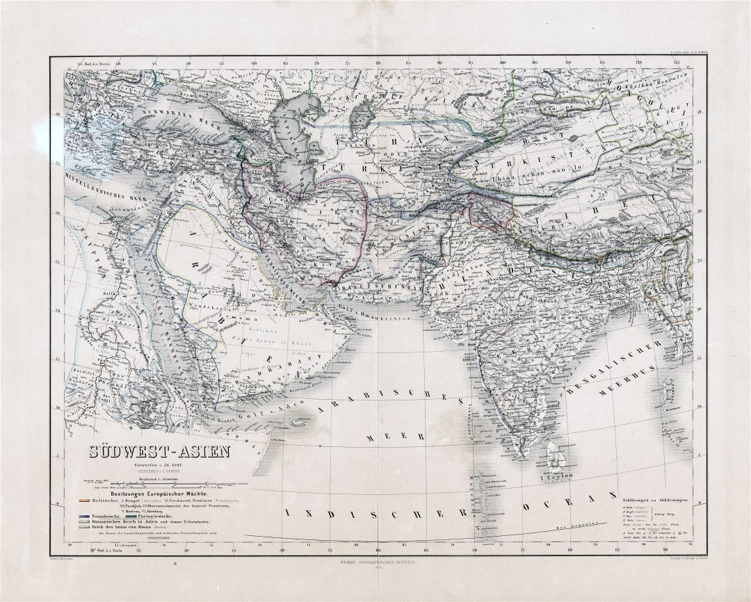 Large scale old map of Southwest Asia - 1866 | Old maps of Asia ...