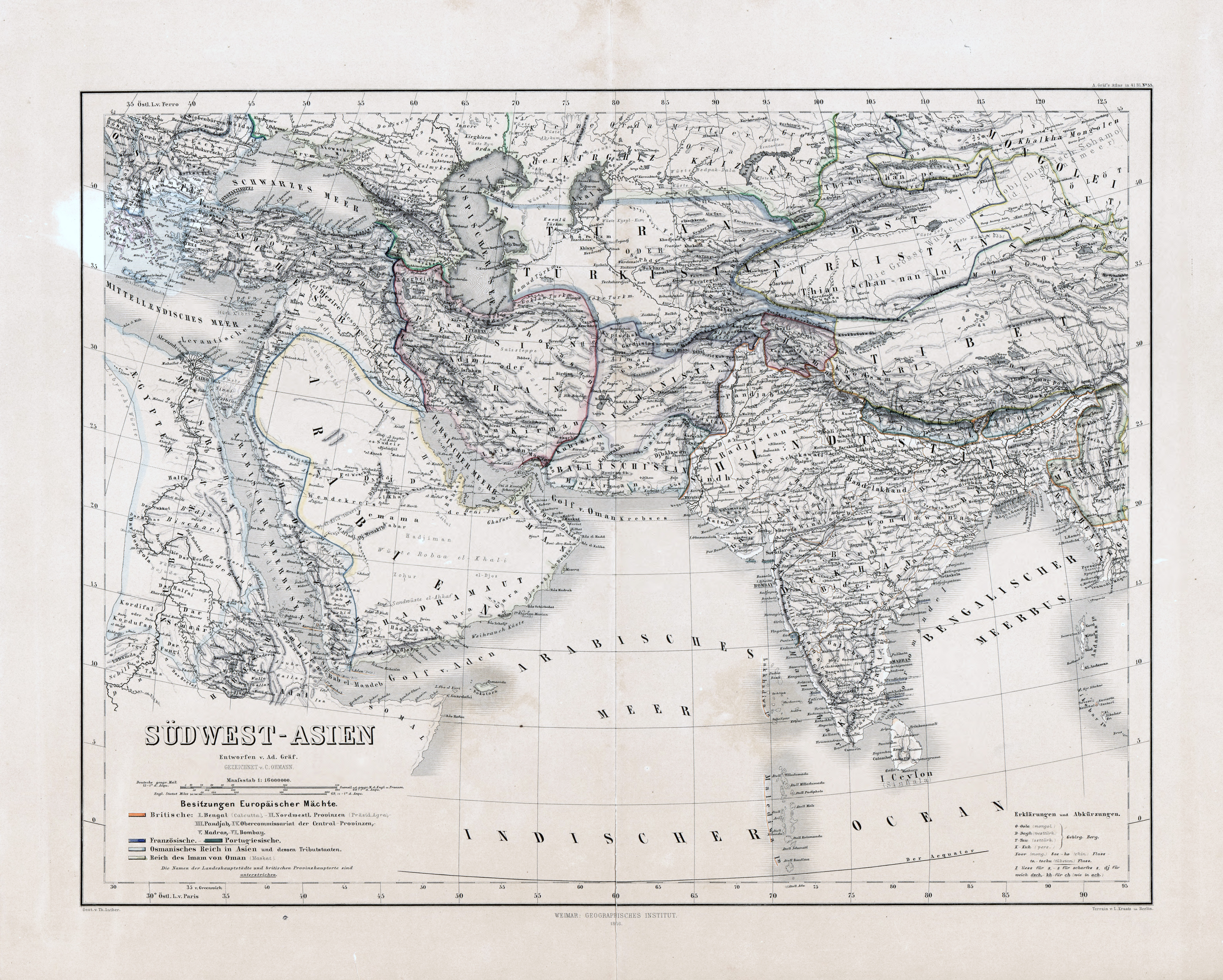 Large scale old map of Southwest Asia - 1866 | Old maps of ...