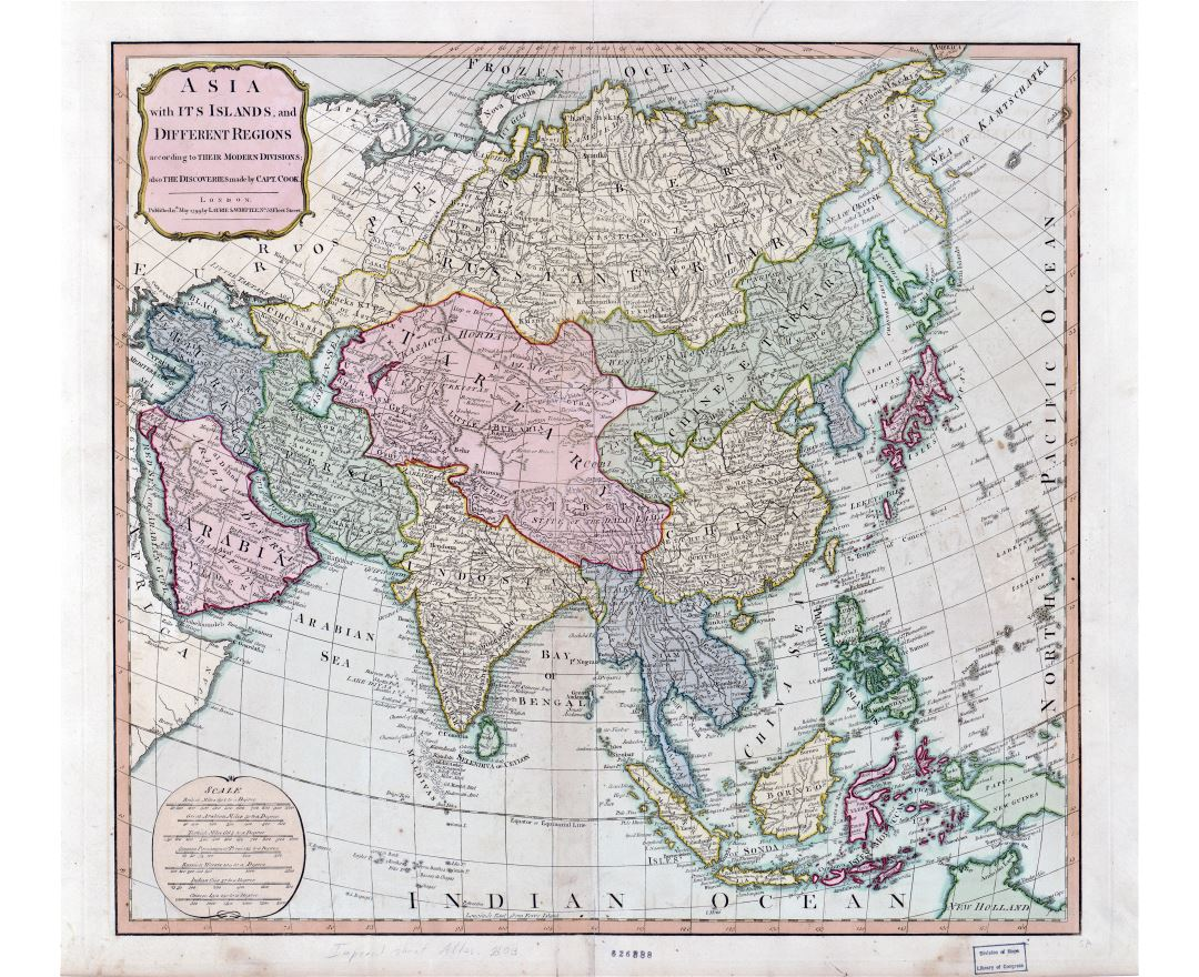 Large scale old political map of Asia - 1799