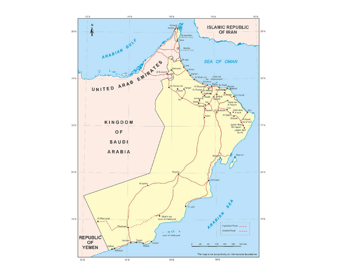 Detailed map of Oman with roads and cities