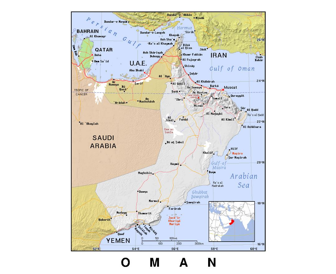 Detailed political map of Oman with relief
