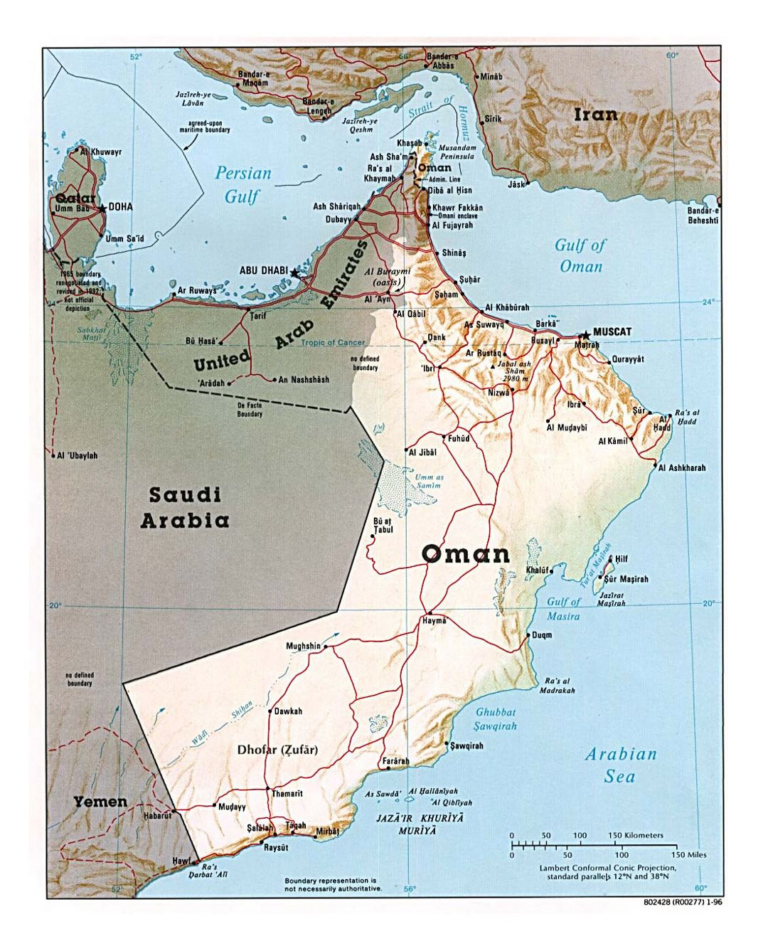 Detailed political map of Oman with relief, roads and major cities - 1996