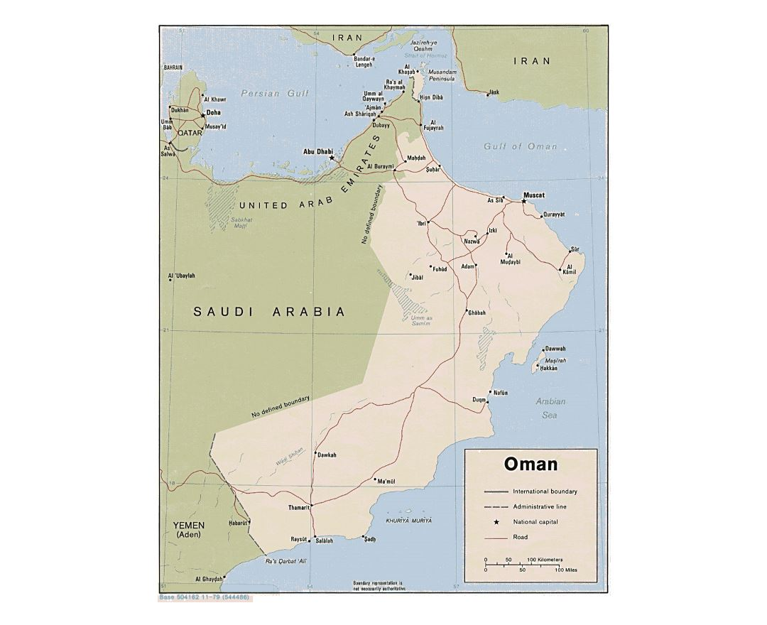 Detailed political map of Oman with roads and major cities - 1979