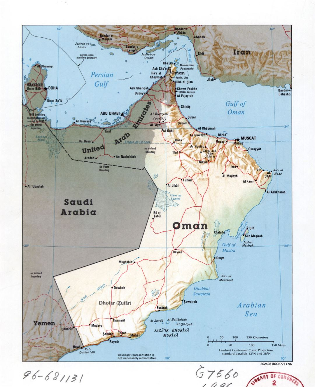 Large detailed political map of Oman with relief, roads and major cities - 1996