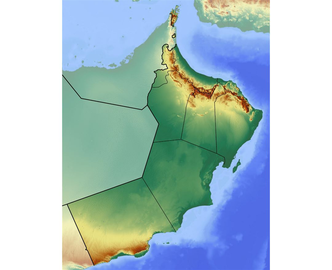 Large detailed relief map of Oman