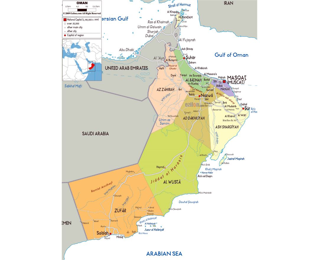Large political and administrative map of Oman with roads, cities and airports