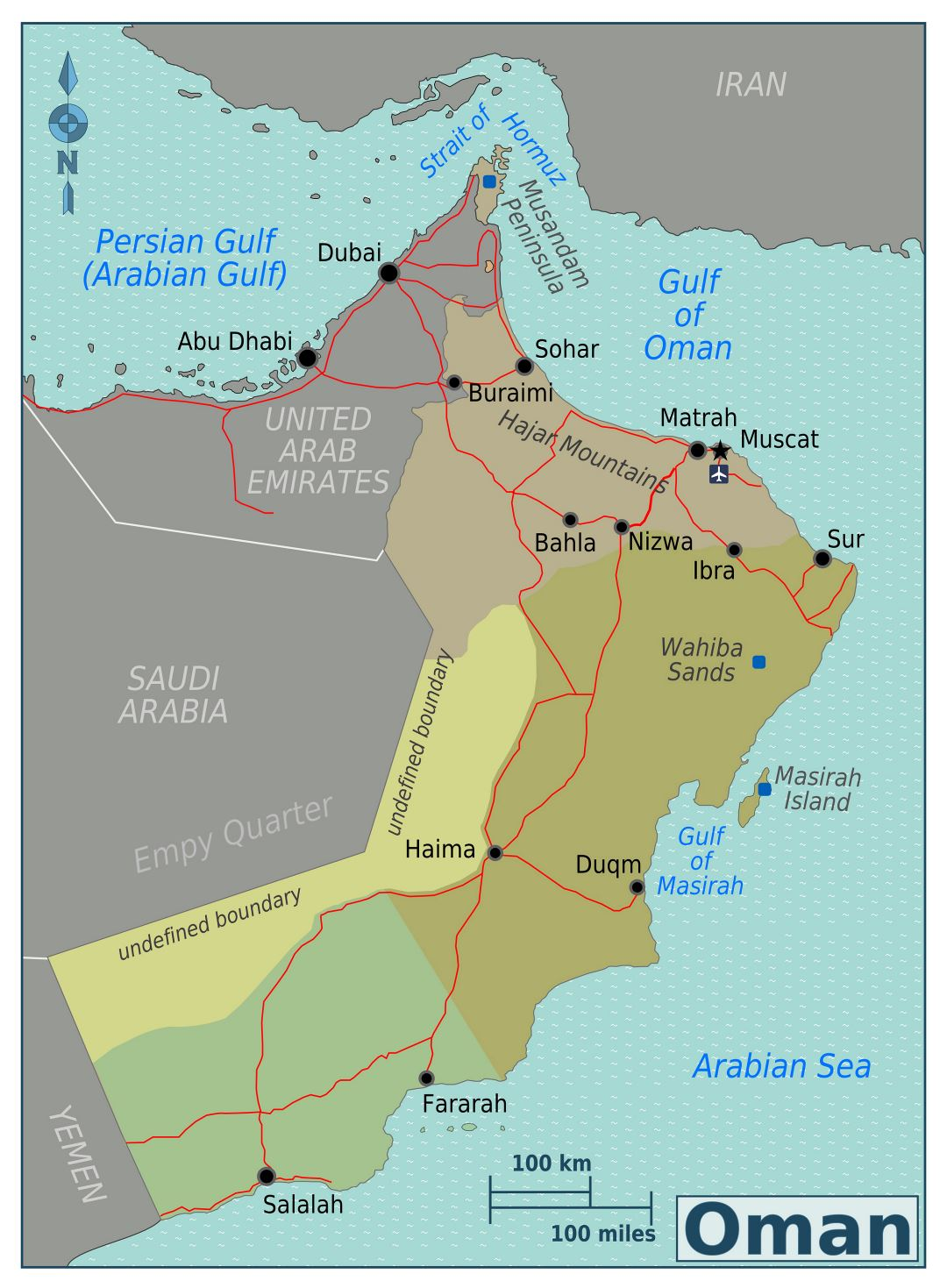 Large regions map of Oman