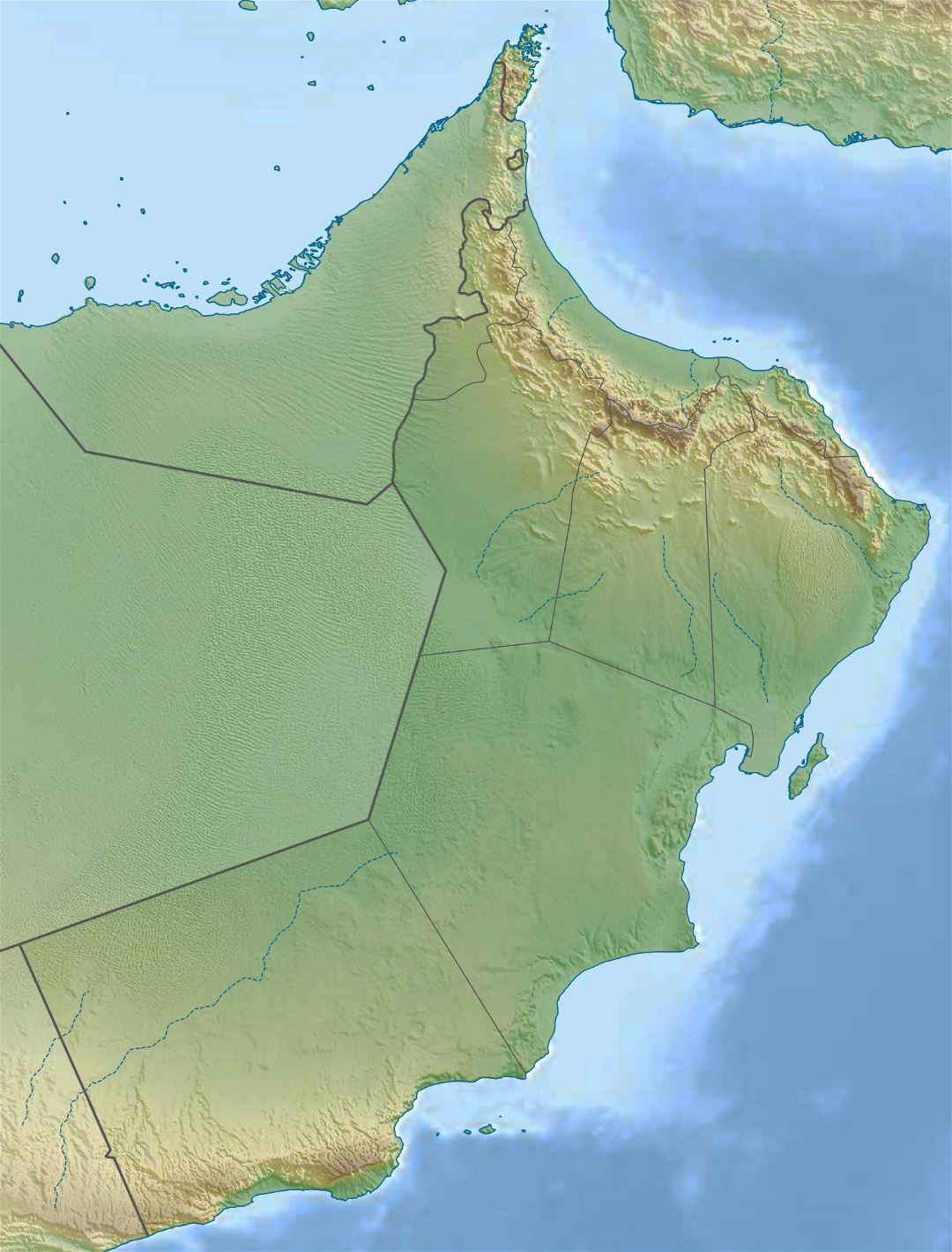 Large relief map of Oman