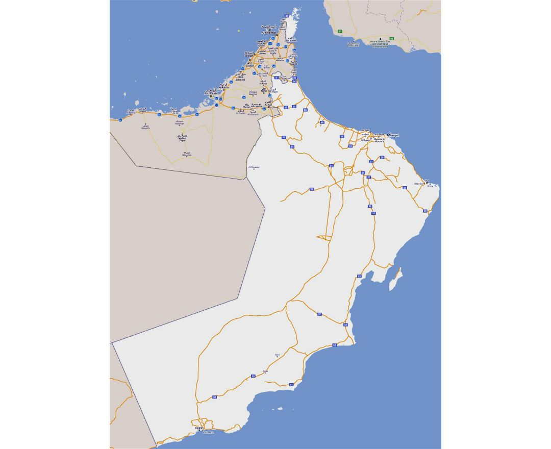 Large road map of Oman with cities