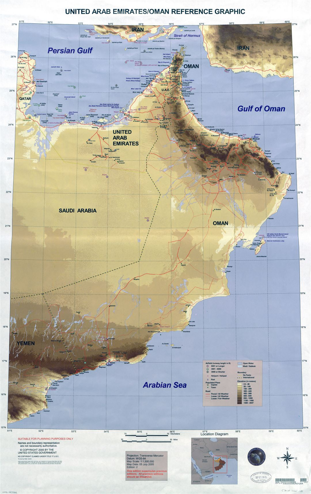 Large scale detailed elevation map of United Arab Emirates and Oman with airports, ports, heliports, cities, towns, roads and other marks - 2005