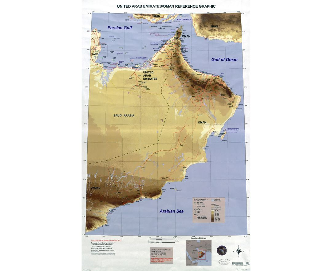 large scale detailed map of united arab emirates and oman 2005
