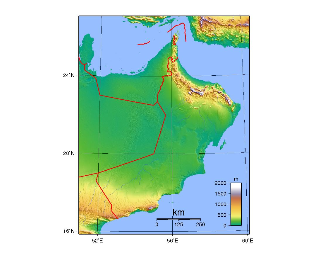 Large topographical map of Oman