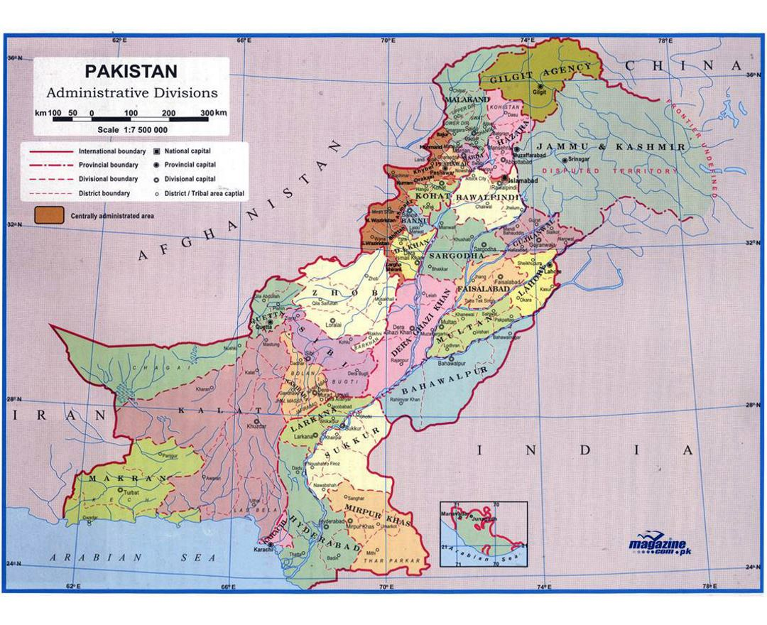 Detailed administrative divisions map of Pakistan