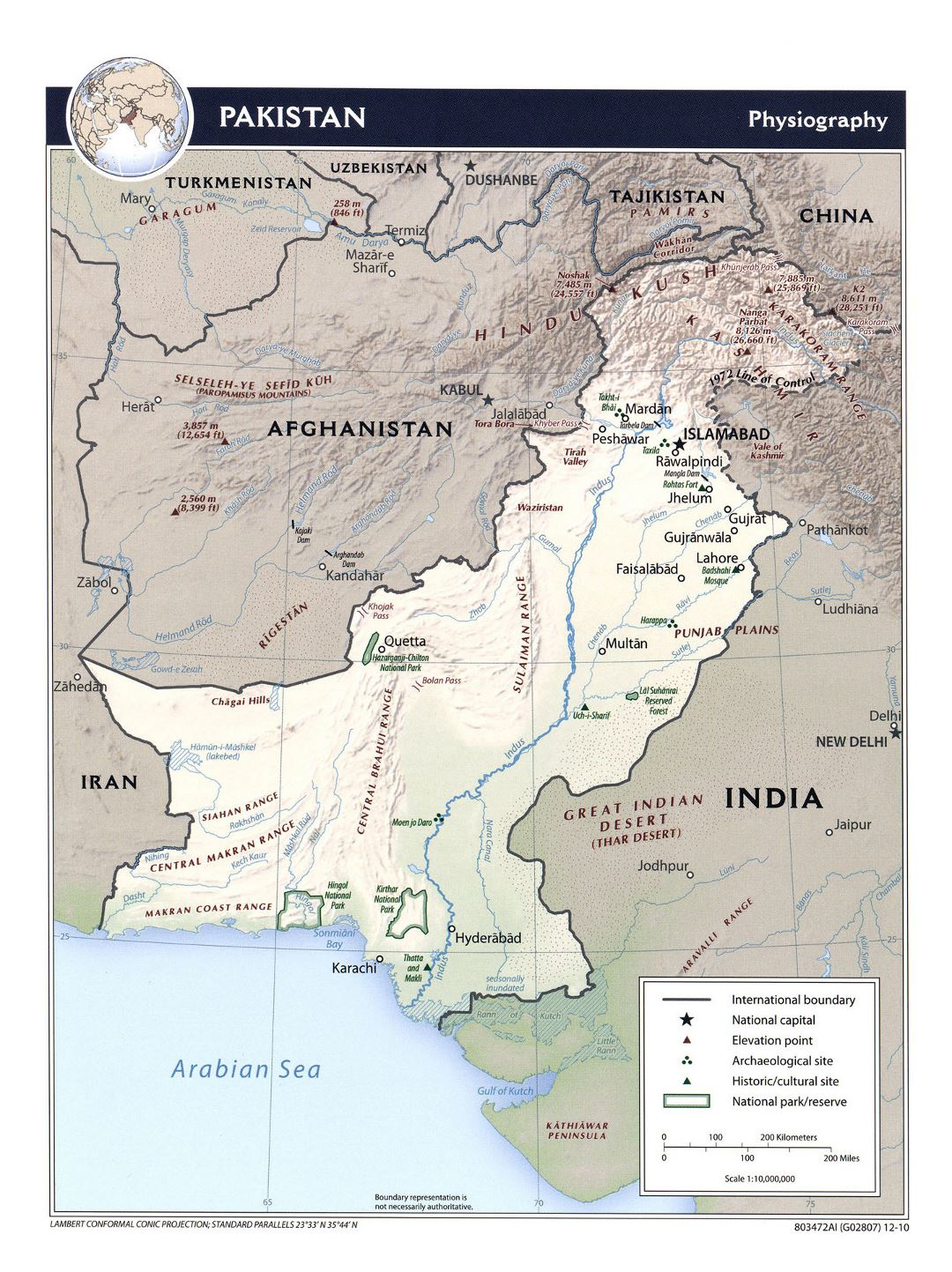 Detailed physiography map of Pakistan - 2010