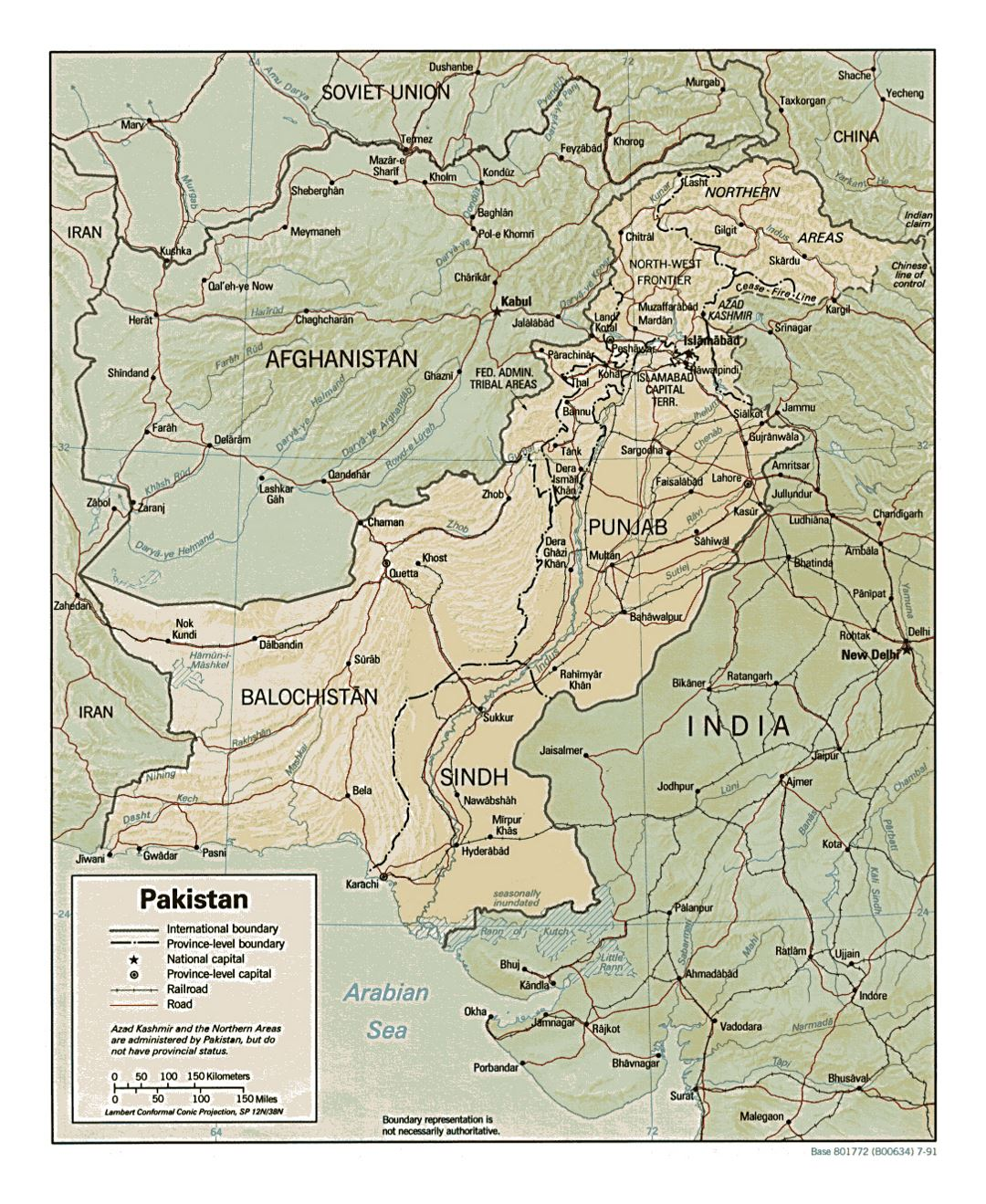 Detailed political and administrative map of Pakistan with relief, roads, railroads and major cities - 1991