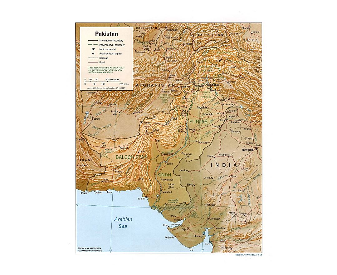Detailed political and administrative map of Pakistan with relief, roads, railroads and major cities - 1996