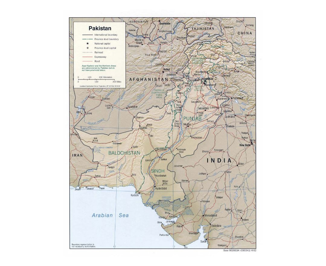 Detailed political and administrative map of Pakistan with relief, roads, railroads and major cities - 2002
