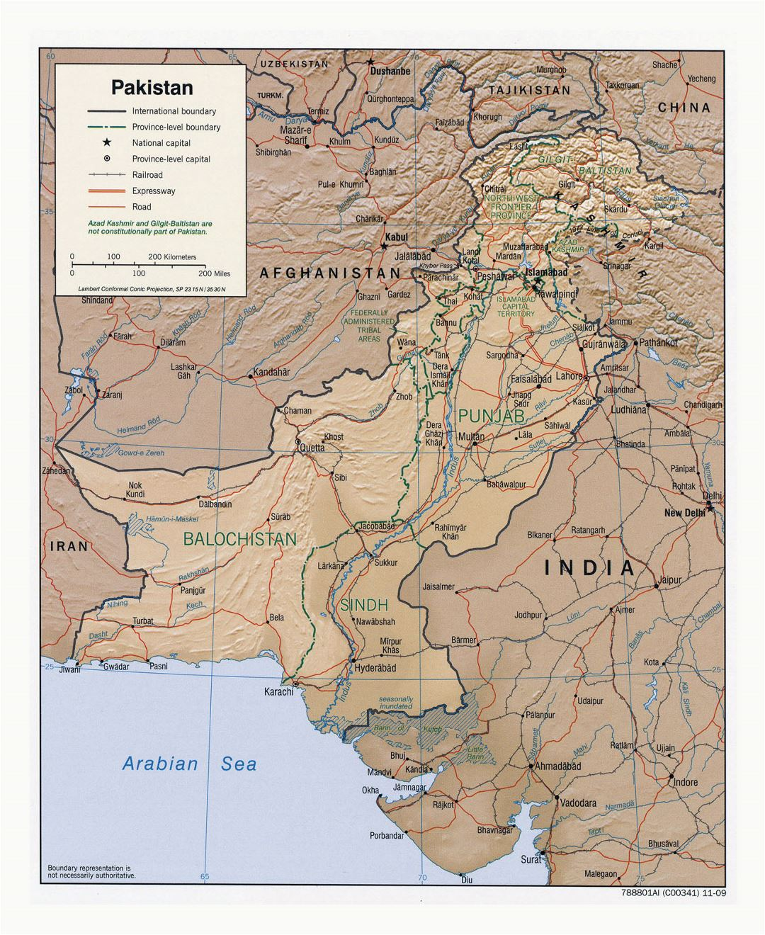 Detailed political and administrative map of Pakistan with relief, roads, railroads and major cities - 2009