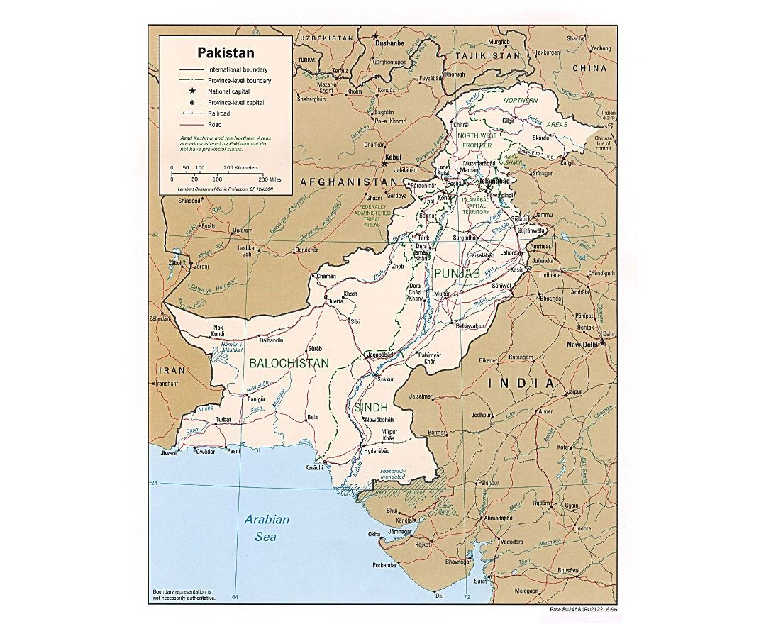 Detailed political and administrative map of Pakistan with roads, railroads and major cities - 1996