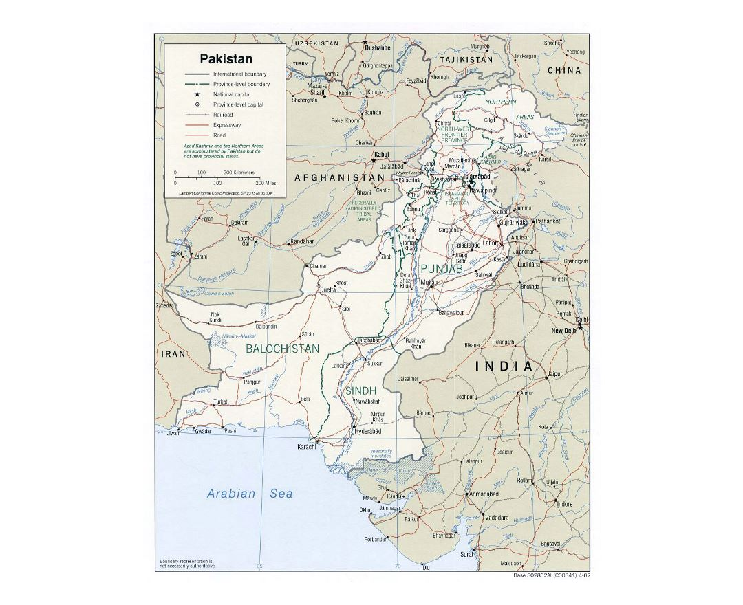 Detailed political and administrative map of Pakistan with roads, railroads and major cities - 2002