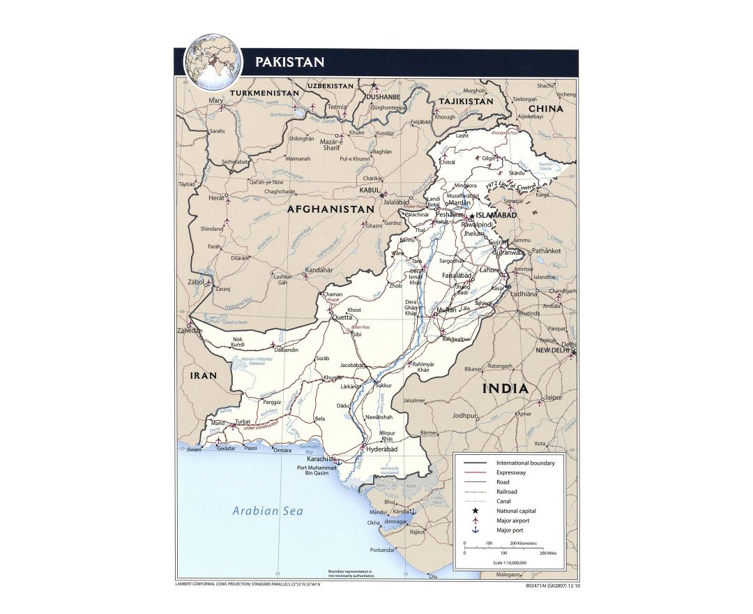 Detailed political map of Pakistan with roads, railroads, major cities, airports, ports and other marks - 2010