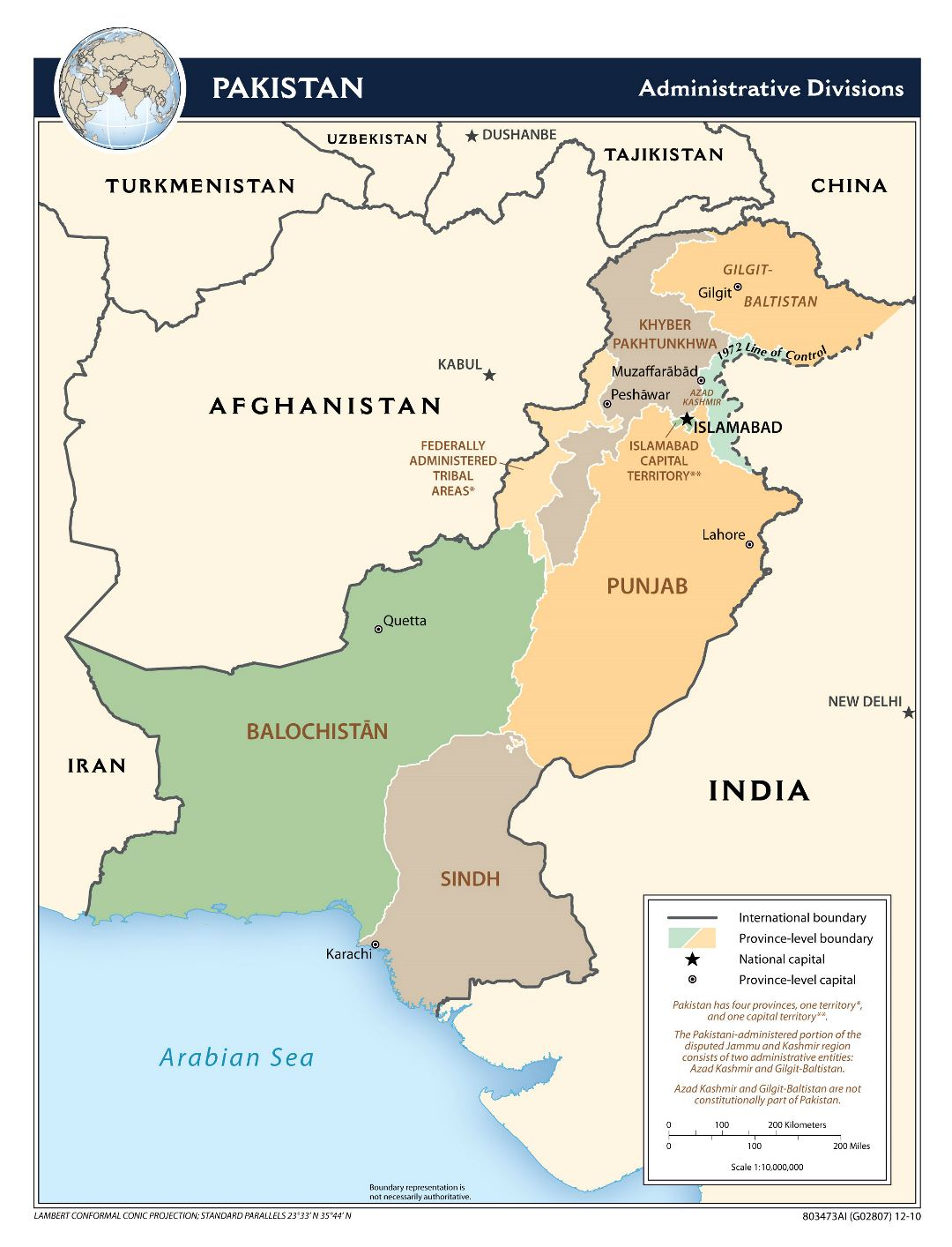 Large administrative divisions map of Pakistan - 2010