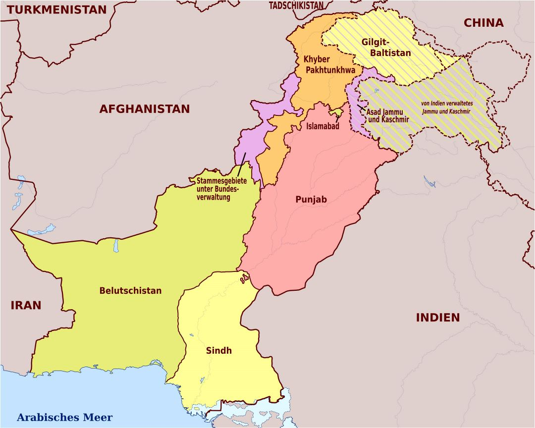 Large administrative map of Pakistan