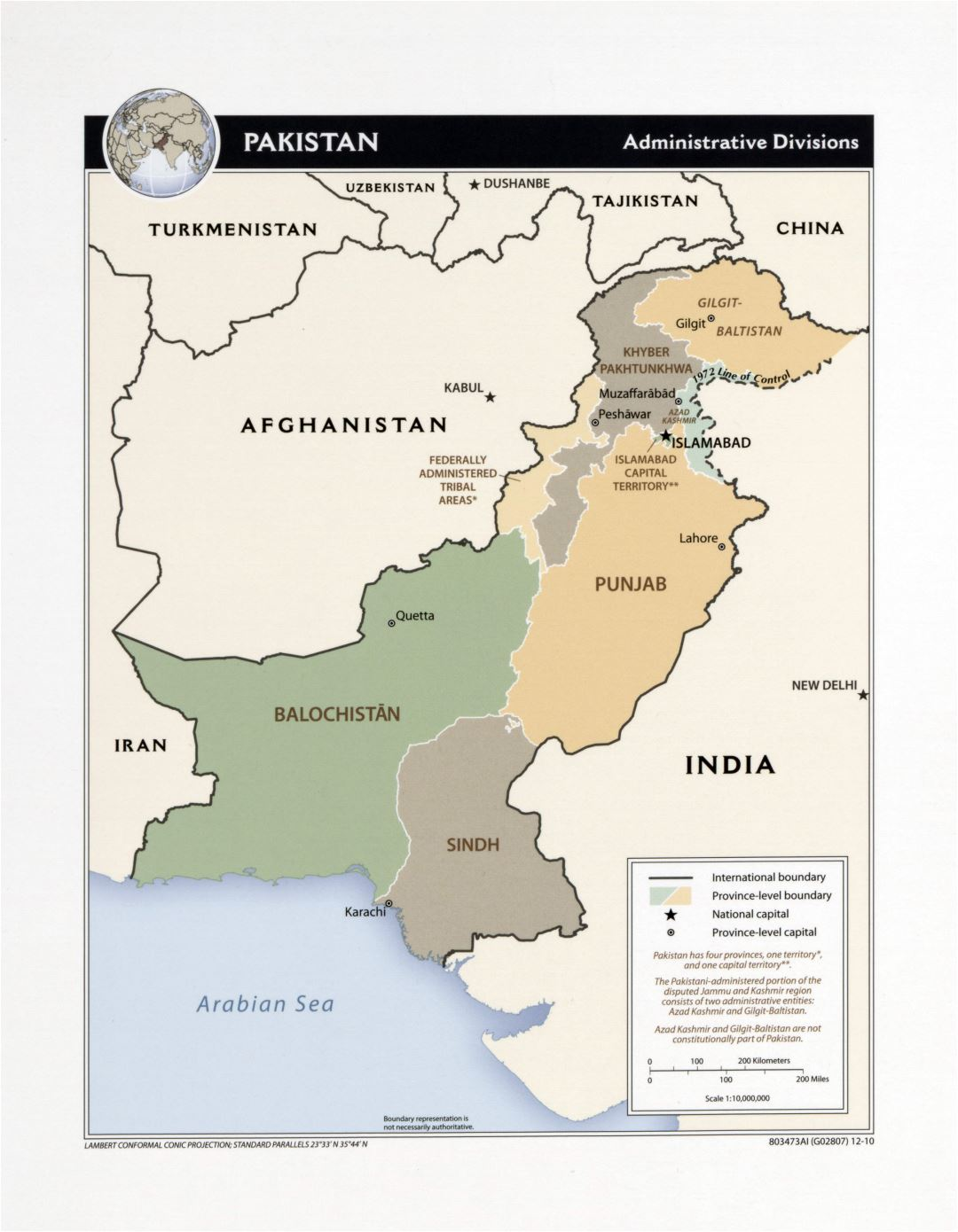 Large detailed administrative divisions map of Pakistan - 2010