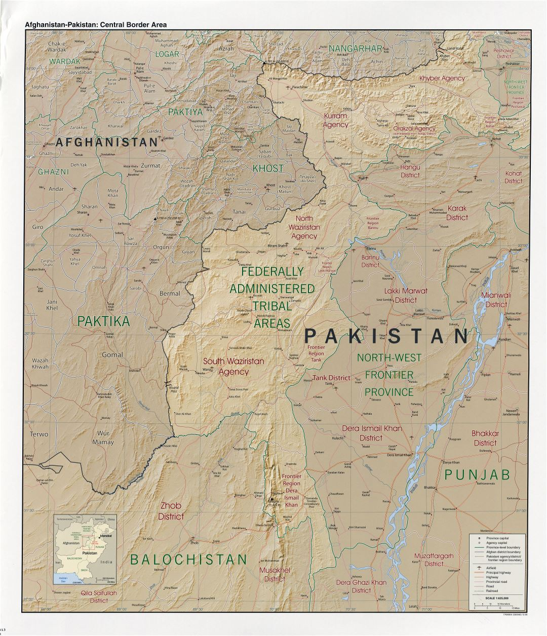 Large detailed Afghanistan-Pakistan central border area map with relief and other marks - 2008