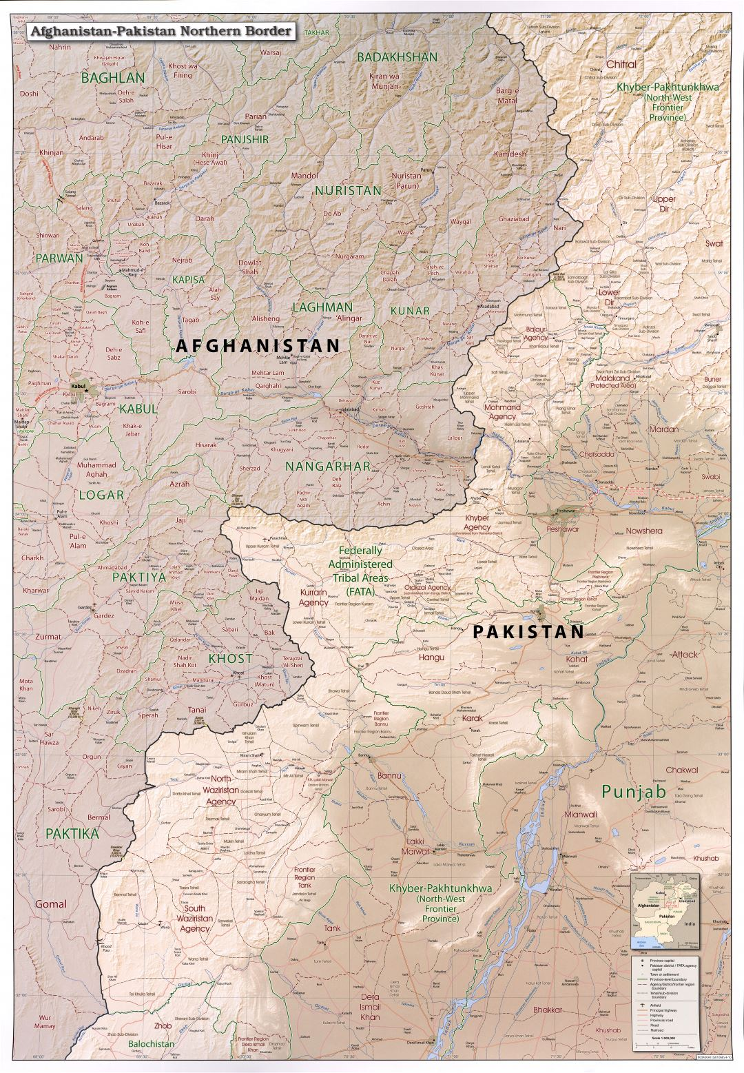 Large detailed Afghanistan-Pakistan northern border map with relief, administrative divisions, roads, railroads, airfields and all cities - 2010