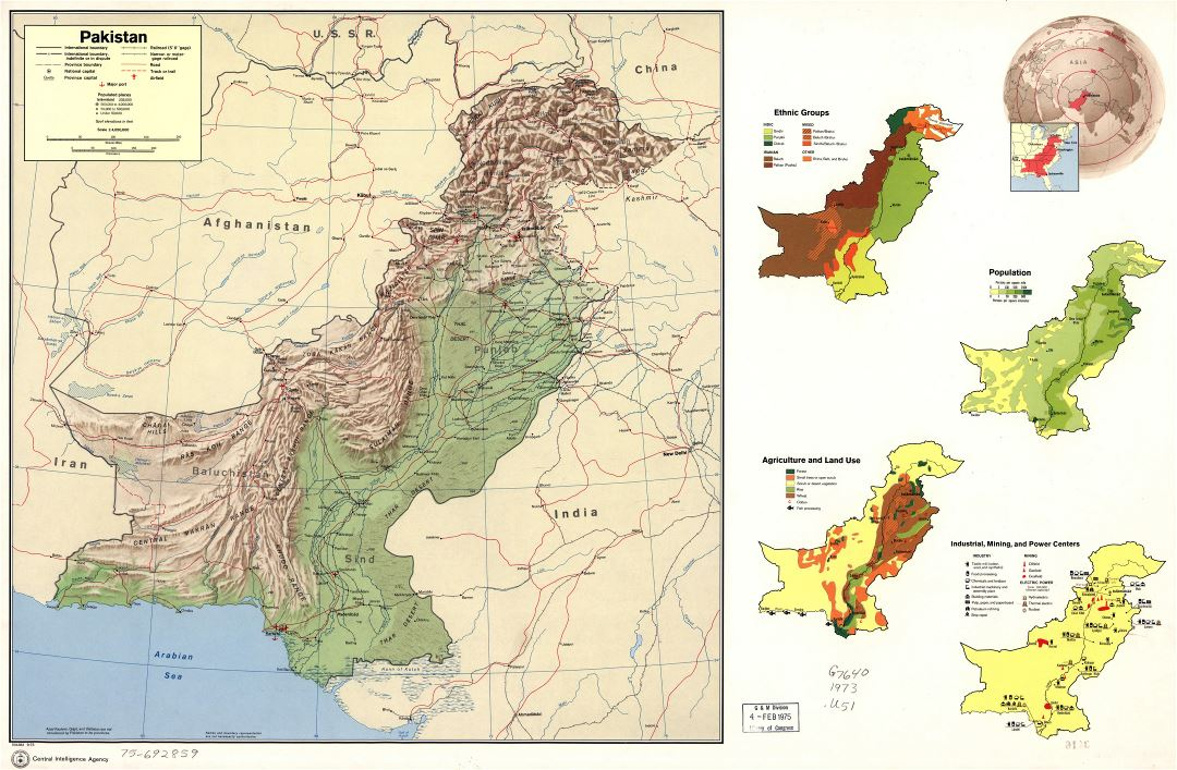 Large detailed country profile map of Pakistan - 1973