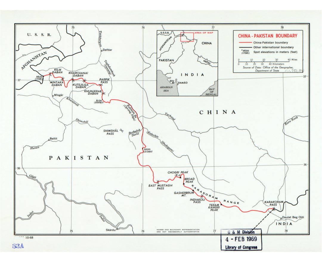 Large detailed map of China - Pakistan boundary - 1968