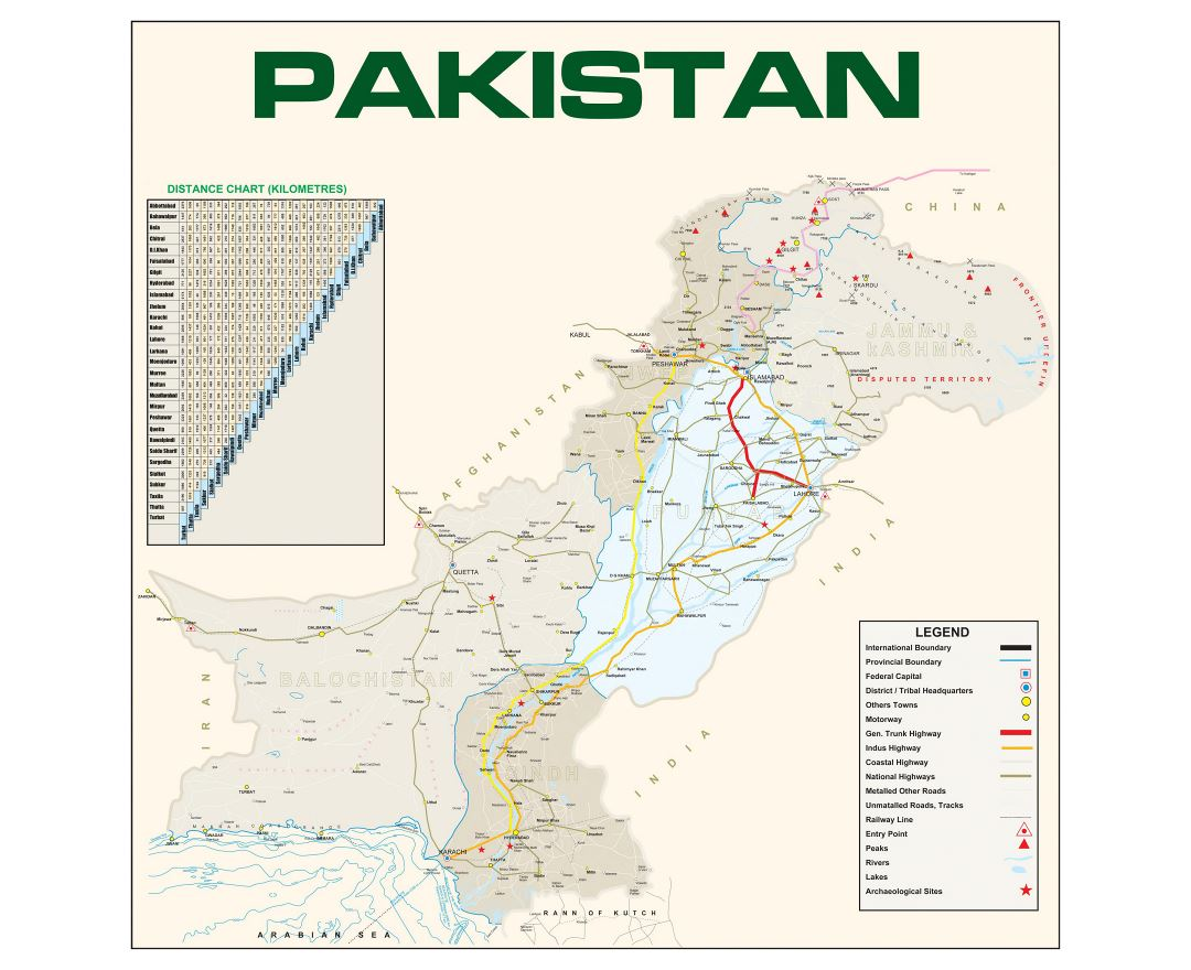 Large detailed map of Pakistan