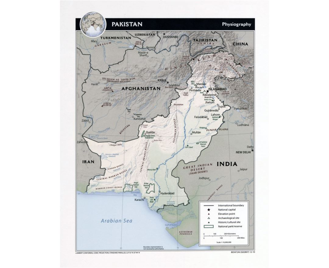 Large detailed physiography map of Pakistan - 2010
