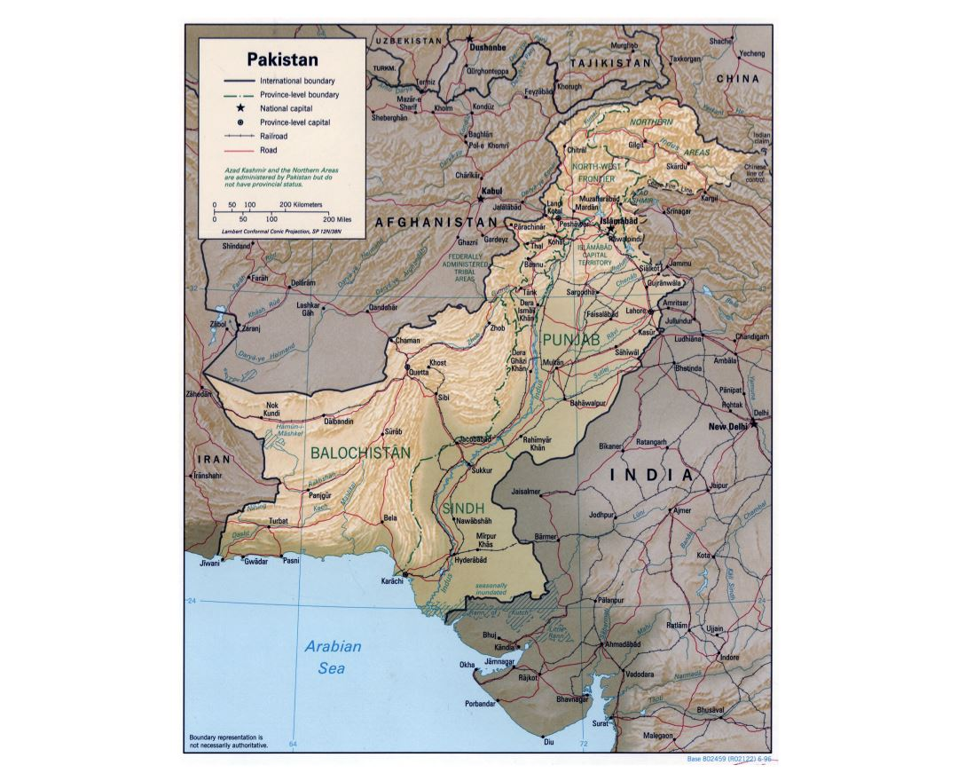 Large detailed political and administrative map of Pakistan with relief, roads, railroads and major cities - 1996