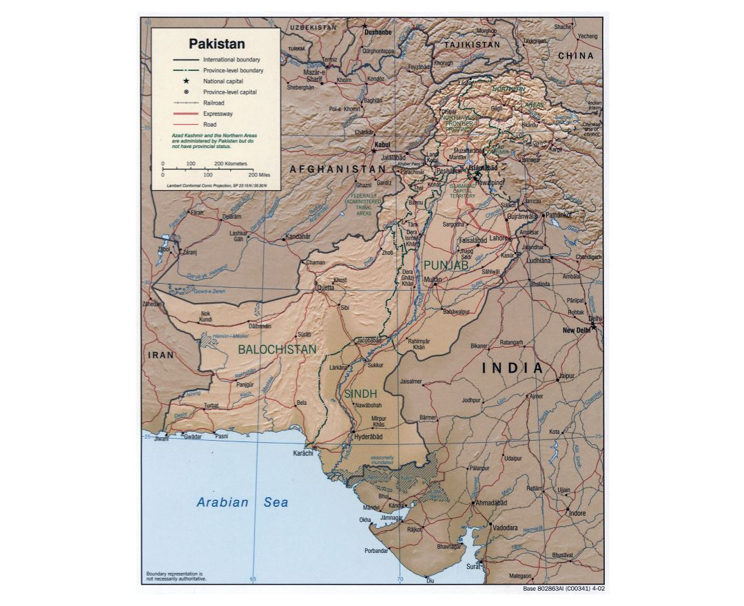 Large detailed political and administrative map of Pakistan with relief, roads, railroads and major cities - 2002