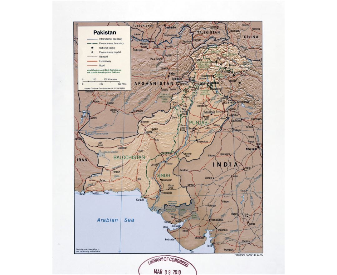Large detailed political and administrative map of Pakistan with relief, roads, railroads and major cities - 2009