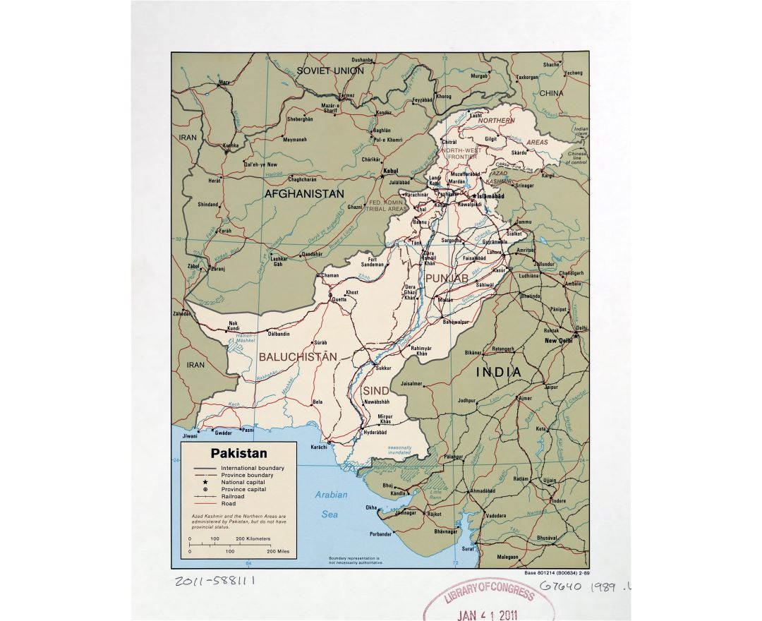 Large detailed political and administrative map of Pakistan with roads, railroads and major cities - 1989