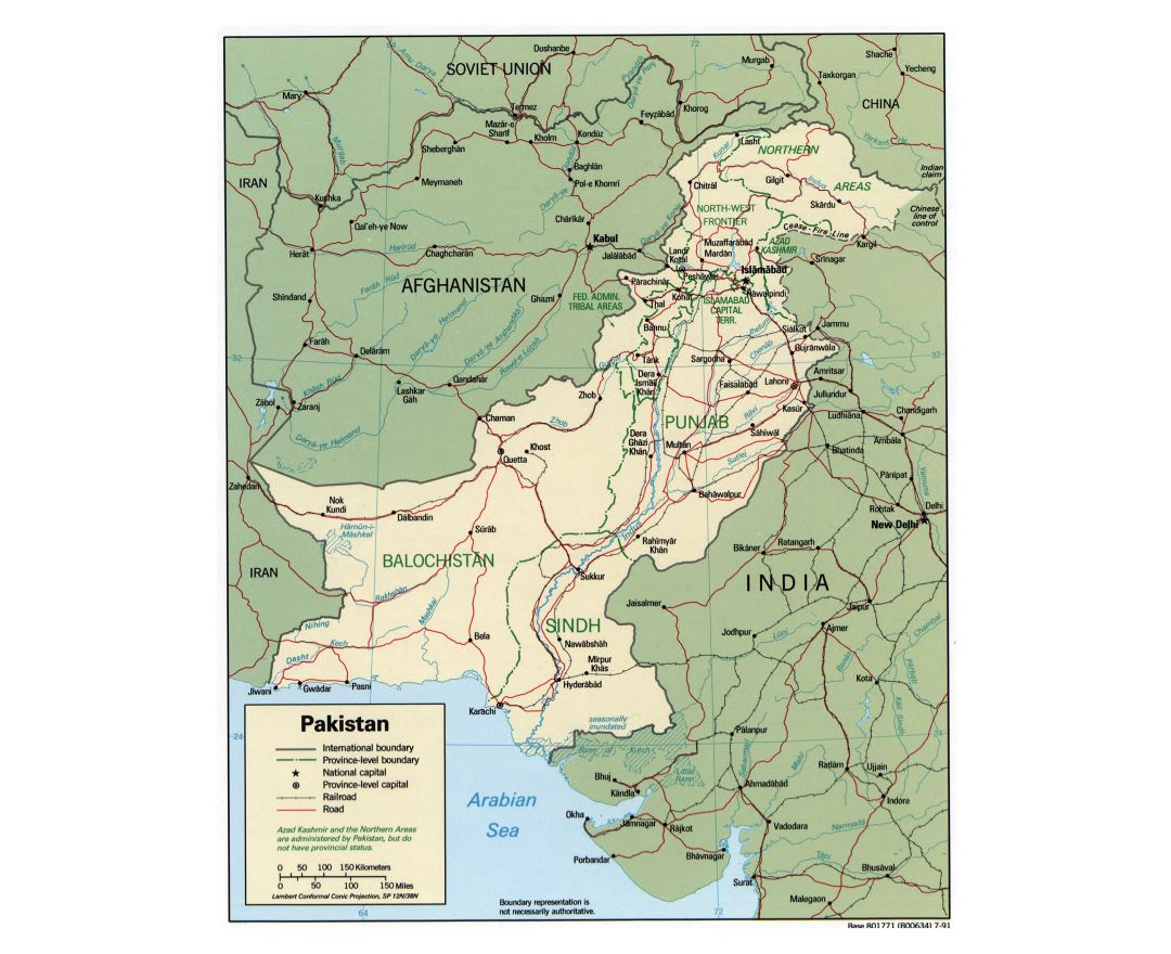Large detailed political and administrative map of Pakistan with roads, railroads and major cities - 1991