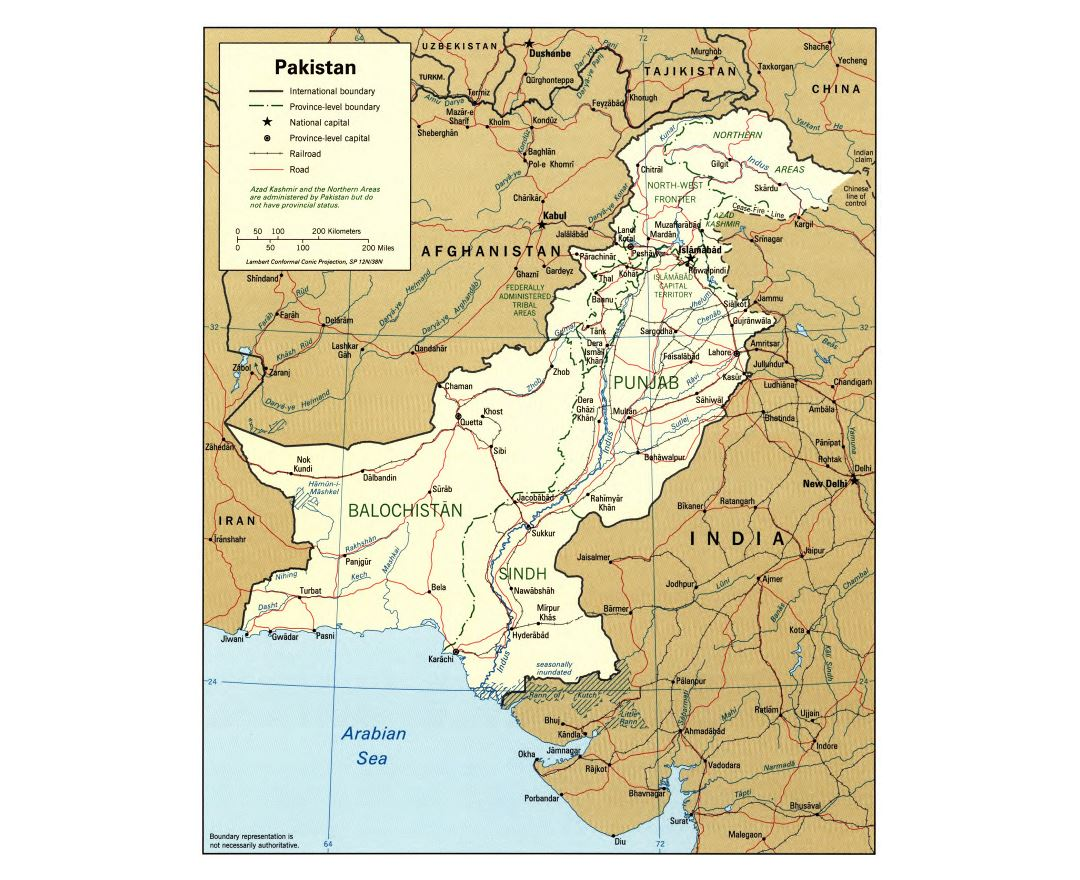 Large detailed political and administrative map of Pakistan with roads, railroads and major cities - 1996